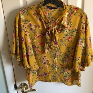 Yellow floral blouse with flounce sleeve